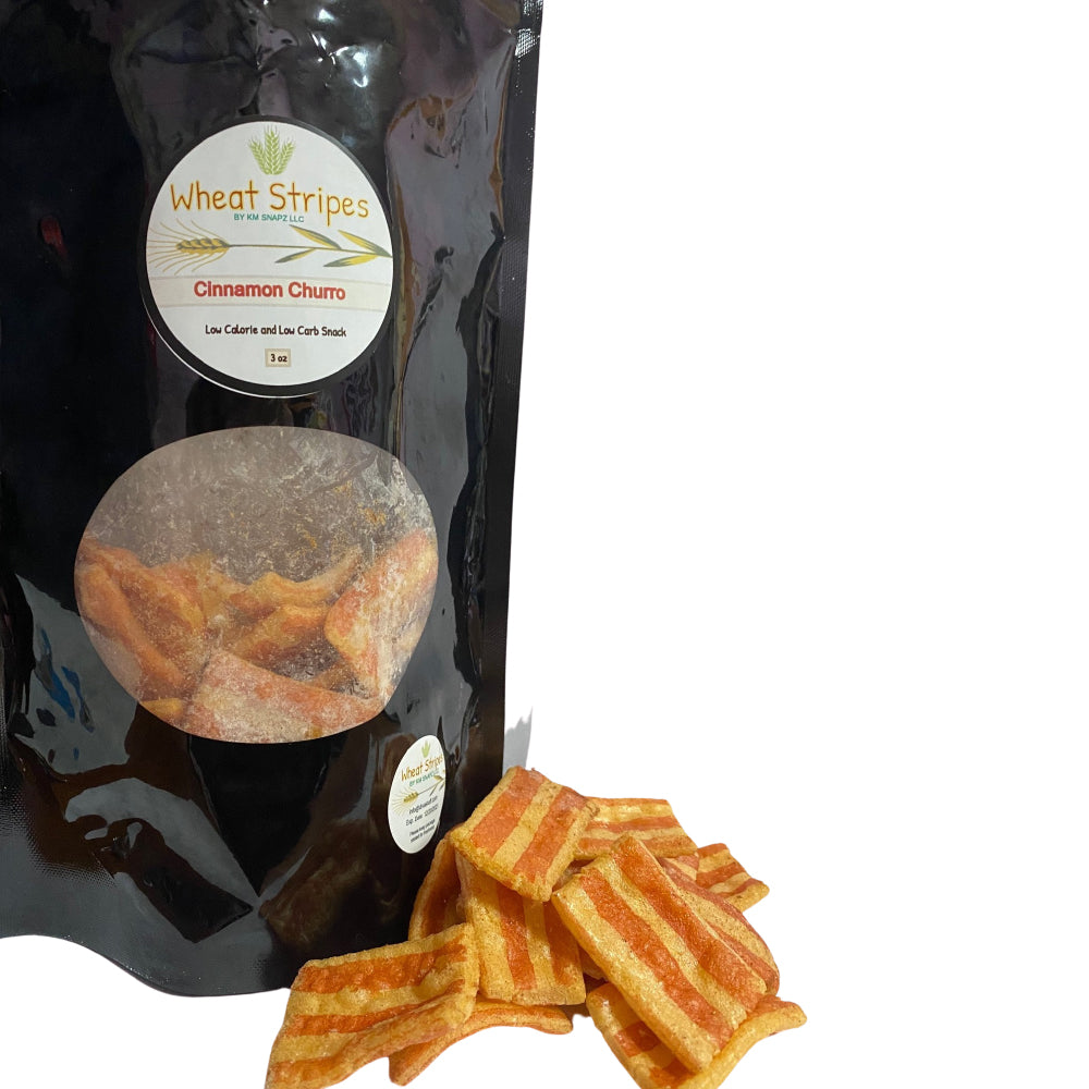 Wheat Stripes Low Calorie, Low Carb, Keto, Low Fat Gourmet Snack Chips, 3 oz - Cinnamon Sugar, 1 Pack