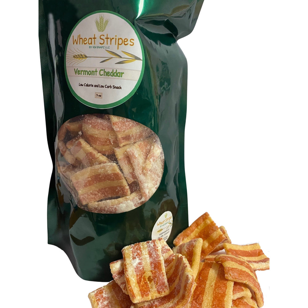 Wheat Stripes Low Calorie, Low Carb, Keto, Low Fat Gourmet Snack Chips, 3 oz - Vermont Cheddar, 1 Pack