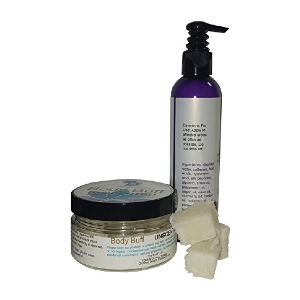 Diva Set, Ultimate Crepey Skin Cream and Sugar Scrub, with Hyaluronic Acid, Unscented