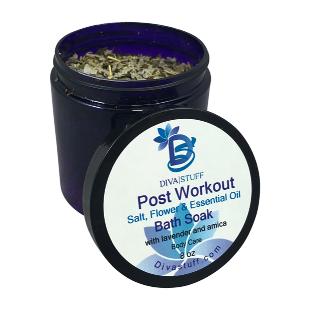 Post Workout Bath Tea Soak With Epsom Salts, Dried Flowers and Essential Oils