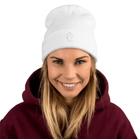 Boiz House Logo Embroidered Beanie MultiMedia.Party with Boiz House White