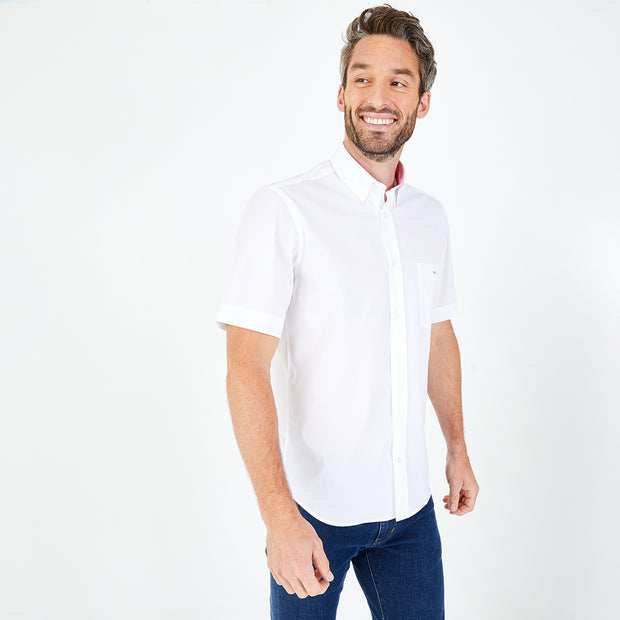 White cotton blend short-sleeved shirt