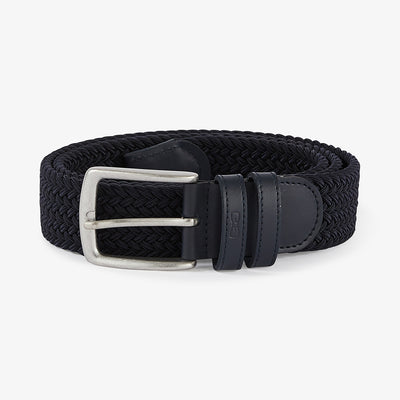 Navy blue elasticated braided belt