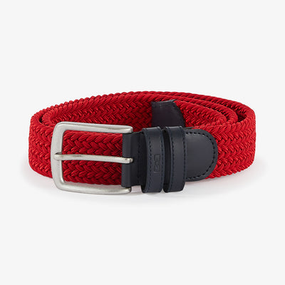 Red elasticated braided belt