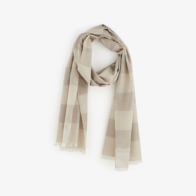 Lightweight striped beige cotton voile scarf