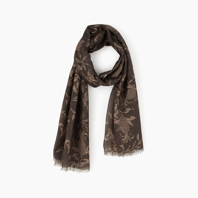 Tropical print brown voile scarf