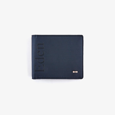 Solid navy blue canvas and leather wallet