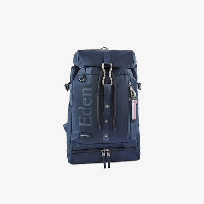 Multi-pocket navy blue canvas backpack