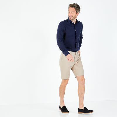 Beige stretch cotton Bermuda shorts