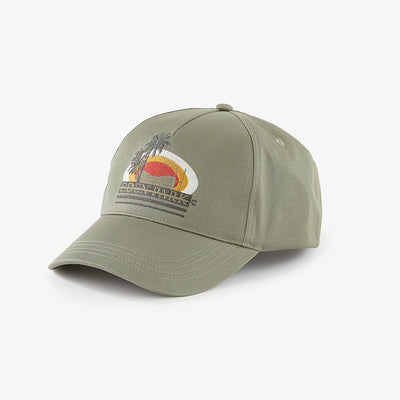 Khaki cotton cap with palm tree embroidery