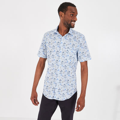 Slim fit short-sleeved print stretch cotton shirt