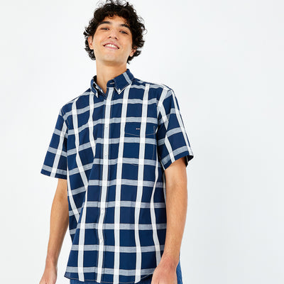 Short-sleeved check navy cotton and linen shirt