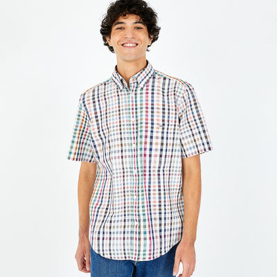 Short-sleeved multicoloured check cotton and linen shirt
