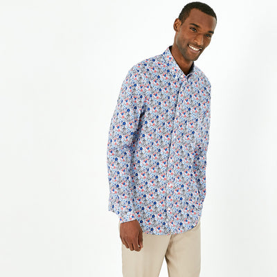 Slim fit blue pima cotton floral shirt