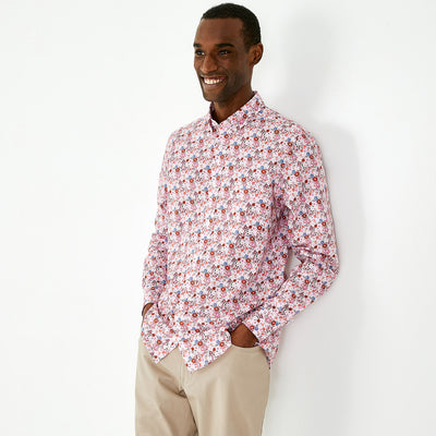 Slim fit pink pima cotton floral shirt
