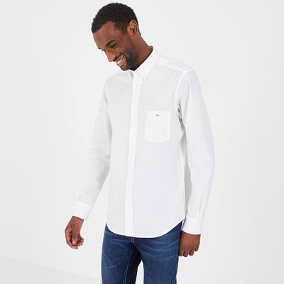 Regular fit white cotton poplin shirt