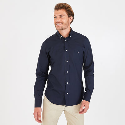 Regular fit navy blue cotton poplin shirt