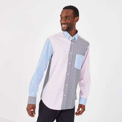 Contrasting striped cotton poplin shirt