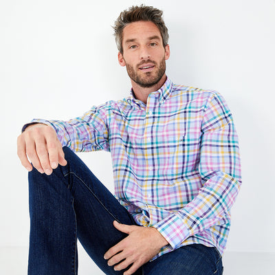 Coloured check cotton poplin shirt