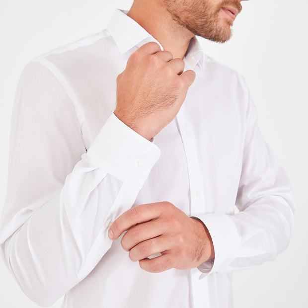 Slim fit white stretch poplin shirt