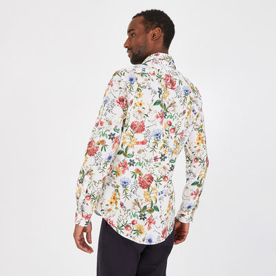 Slim fit floral patterned cotton shirt