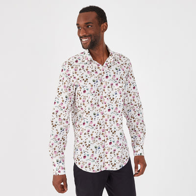 Slim fit fine floral patterned cotton shirt