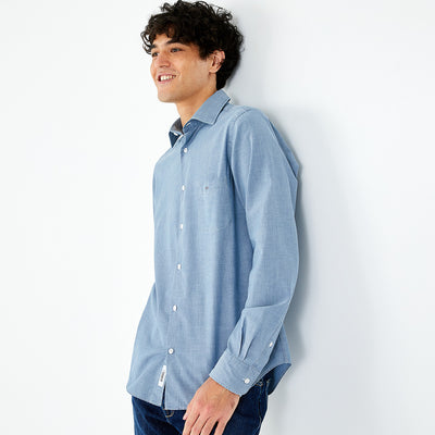 Slim fit navy blue heathered cotton shirt