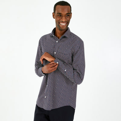 Micro bow tie patterned poplin shirt