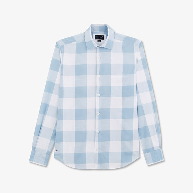 White and sky blue check cotton shirt