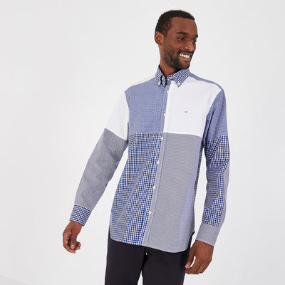 Contrasting check cotton poplin Barbarian shirt