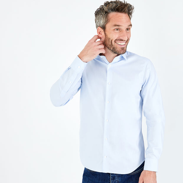 Slim fit sky blue wrinkle-proof cotton shirt