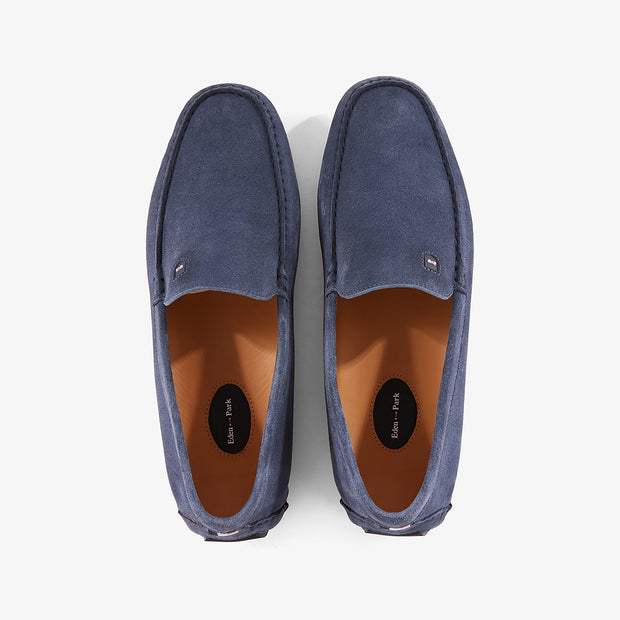 Blue suede leather moccasins