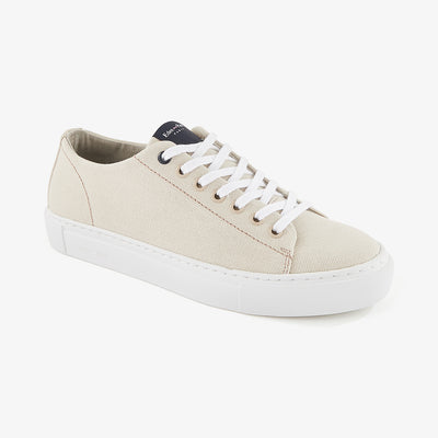 Low-rise solid beige canvas trainers