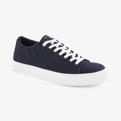 Low-rise solid navy blue canvas trainers