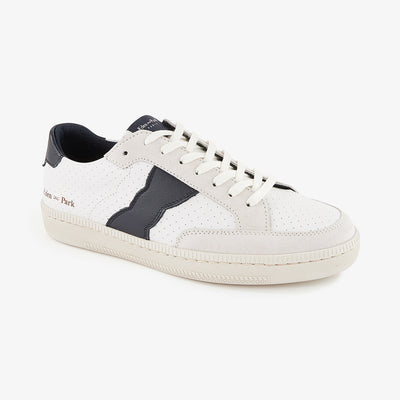 Low-rise leather trainers with suede accents