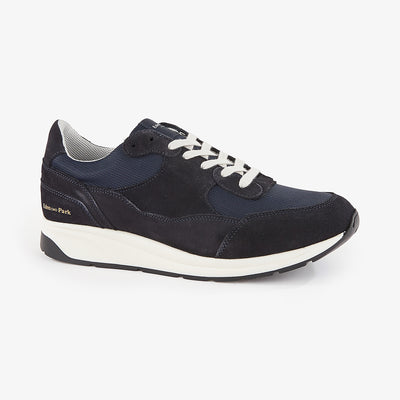 Navy blue suede trainers with thick soles