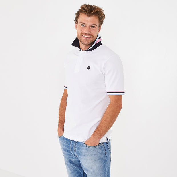 White cotton rugby shirt with contrasting accents