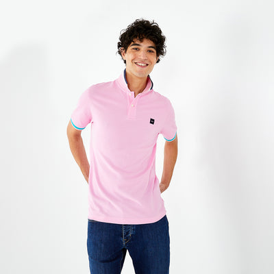 Pink cotton polo with contrasting accents