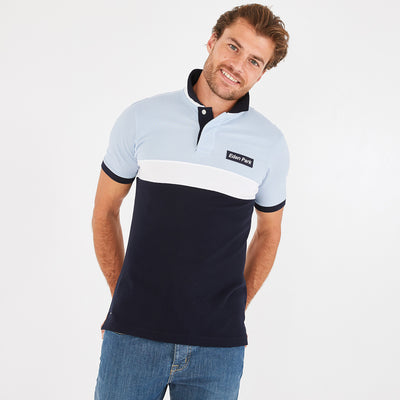 Lightweight navy blue and blue pima cotton piqué polo
