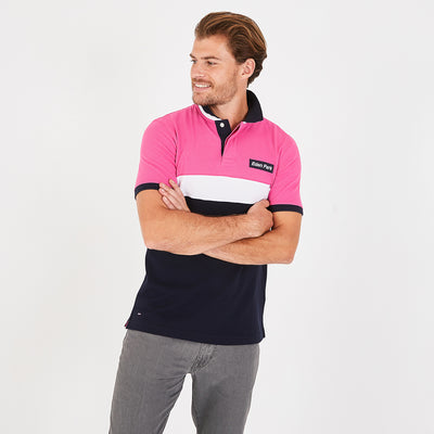 Lightweight navy blue and fuchsia pima cotton piqué polo