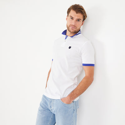 Lightweight white and blue pima cotton piqué polo