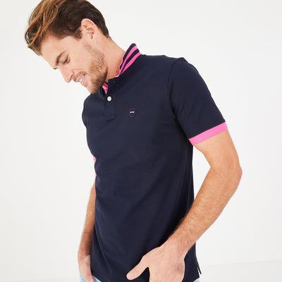 Lightweight navy blue/pink pima cotton piqué polo