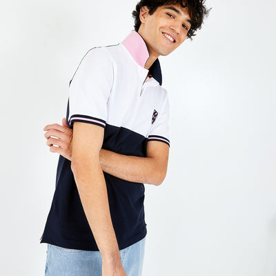 Embroidered navy blue and white cotton piqué polo