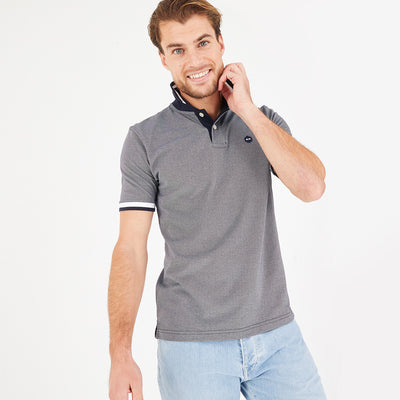 Lightweight heathered navy blue cotton blend polo