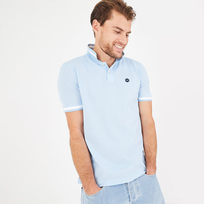 Lightweight heathered sky blue cotton blend polo