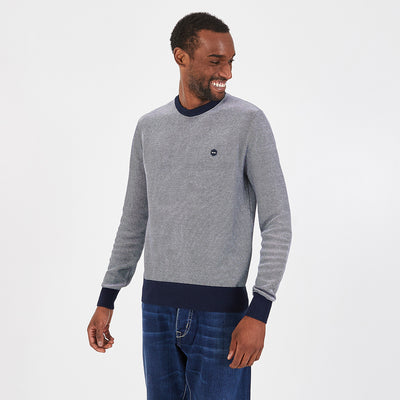 Crew neck heathered navy blue cotton jumper