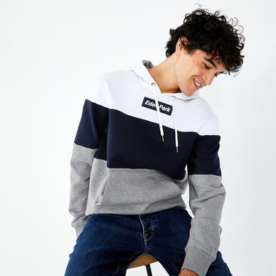 Hooded tricolour fleece sweatshirt