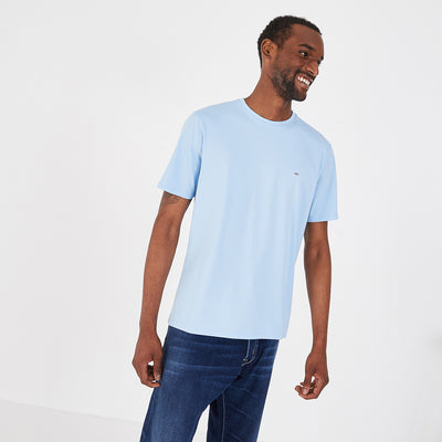 Crew neck lightweight sky blue pima cotton T-shirt