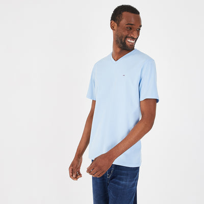 Lightweight V-neck sky blue pima cotton T-shirt