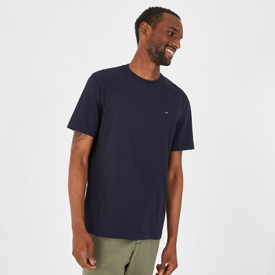 Navy blue Pima cotton T-shirt with bow tie